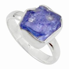 5.63cts natural blue iolite rough 925 silver solitaire ring size 8 r17206