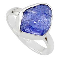 5.24cts natural blue iolite rough 925 silver solitaire ring size 8 r17208