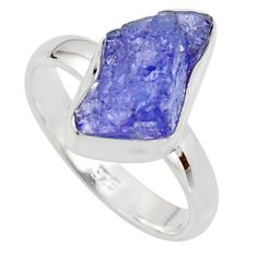 925 silver 5.45cts natural blue iolite rough fancy solitaire ring size 6 r17209