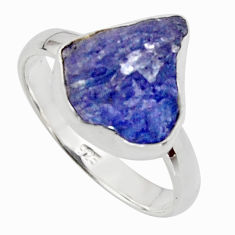 6.27cts natural blue iolite rough 925 silver solitaire ring size 8 r17210
