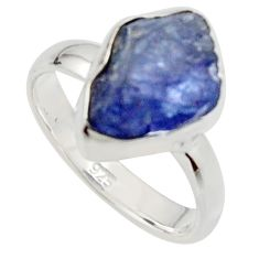 5.96cts natural blue iolite rough 925 silver solitaire ring size 6 r17212