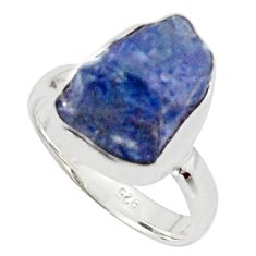 6.27cts natural blue iolite rough 925 silver solitaire ring size 5.5 r17213