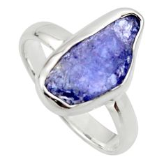 5.64cts natural blue iolite rough 925 silver solitaire ring size 8 r17215