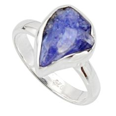 5.63cts natural blue iolite rough 925 silver solitaire ring size 7 r17216