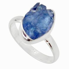 925 silver 6.70cts natural blue iolite rough fancy solitaire ring size 9 r17218