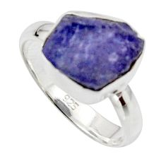 6.62cts natural blue iolite rough 925 silver solitaire ring size 7 r17219