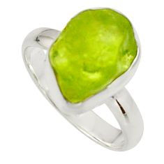 6.27cts natural green peridot rough 925 silver solitaire ring size 7 r17222