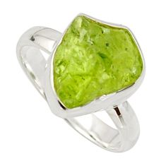 925 silver 5.96cts natural green peridot rough solitaire ring size 7 r17224
