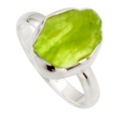 6.70cts natural green peridot rough 925 silver solitaire ring size 9 r17225