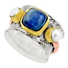 5.01cts victorian natural blue kyanite 925 silver two tone ring size 7 r17342
