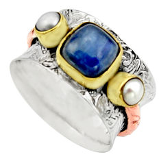 5.18cts victorian natural pink opal 925 silver two tone ring size 8.5 r17343