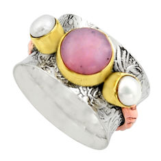 5.28cts victorian natural pink opal pearl 925 silver two tone ring size 7 r17348