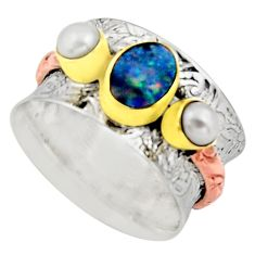 Victorian natural doublet opal australian silver two tone ring size 8.5 r17355