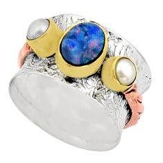925 silver victorian natural doublet opal australian two tone ring size 7 r17358