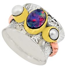 Victorian natural doublet opal australian 925 silver two tone ring size 6 r17359