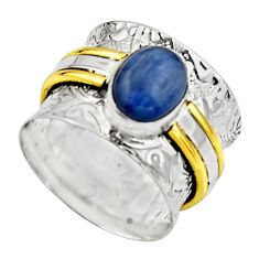 925 silver victorian natural blue kyanite two tone solitaire ring size 7 r17364