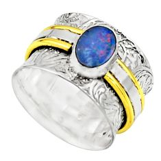 Natural doublet opal australian 925 silver two tone solitaire ring size 8 r17374