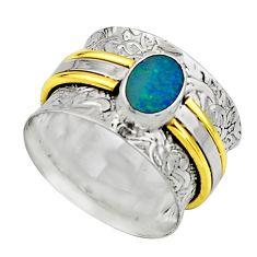 Natural doublet opal australian silver two tone solitaire ring size 8.5 r17375