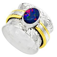 Natural doublet opal australian 925 silver two tone solitaire ring size 6 r17377