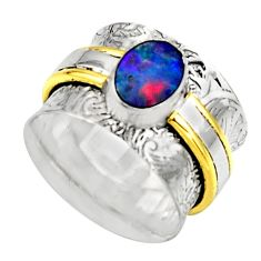 925 silver natural doublet opal australian two tone solitaire ring size 6 r17378