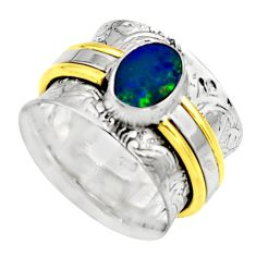 Natural doublet opal australian 925 silver two tone solitaire ring size 7 r17380