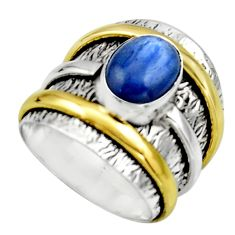 Victorian natural blue kyanite 925 silver two tone solitaire ring size 8 r17381