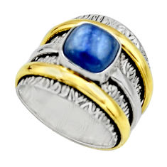3.48cts victorian natural kyanite silver two tone solitaire ring size 8 r17384