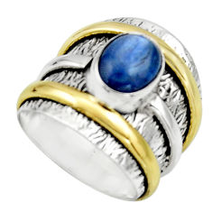 Victorian natural blue kyanite 925 silver two tone solitaire ring size 6 r17385