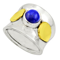 2.41cts natural lapis lazuli 925 silver 14k gold solitaire ring size 8 r17407