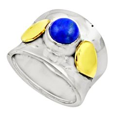 925 silver 2.36cts natural lapis lazuli 14k gold solitaire ring size 7.5 r17409