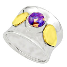 2.41cts purple copper turquoise 925 silver 14k gold solitaire ring size 9 r17410