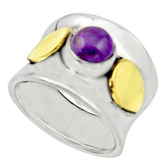 925 silver 2.28cts purple copper turquoise 14k gold solitaire ring size 8 r17414
