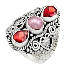 4.35cts natural pink morganite garnet 925 sterling silver ring size 8.5 r17441