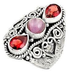 4.53cts natural pink morganite garnet 925 sterling silver ring size 7.5 r17442