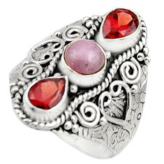 4.35cts natural pink morganite garnet 925 sterling silver ring size 9 r17443