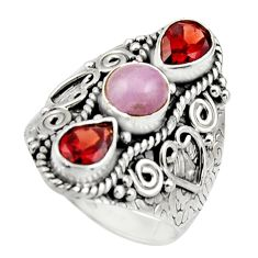 925 sterling silver 4.68cts natural pink morganite red garnet ring size 8 r17444