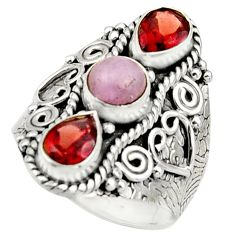 4.54cts natural pink morganite garnet 925 sterling silver ring size 7.5 r17446