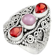 925 sterling silver 4.68cts natural pink morganite garnet ring size 9.5 r17447