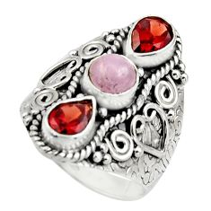 4.53cts natural pink morganite garnet 925 sterling silver ring size 8 r17448