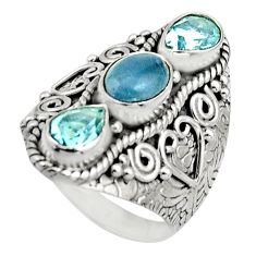 5.17cts natural blue aquamarine topaz 925 sterling silver ring size 7.5 r17449