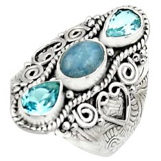 925 sterling silver 5.18cts natural blue aquamarine topaz ring size 8.5 r17450
