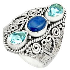 5.17cts natural blue kyanite topaz 925 sterling silver ring size 9 r17451