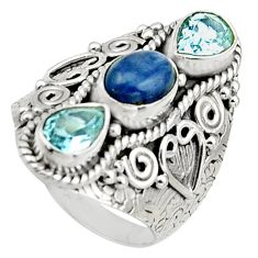 5.32cts natural blue kyanite topaz 925 sterling silver ring size 7 r17458