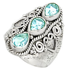 925 sterling silver 4.53cts natural blue topaz pear ring jewelry size 7.5 r17460