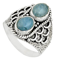 3.01cts natural blue aquamarine 925 sterling silver ring jewelry size 8 r17483