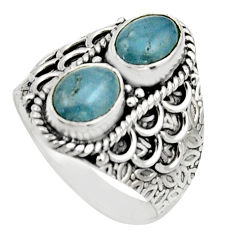 3.01cts natural blue aquamarine 925 sterling silver ring jewelry size 8 r17486