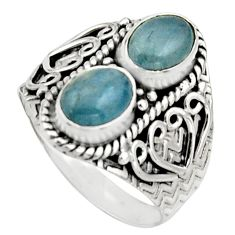 3.15cts natural blue aquamarine 925 sterling silver ring jewelry size 8 r17488
