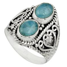 925 sterling silver 3.01cts natural blue aquamarine ring jewelry size 7 r17491