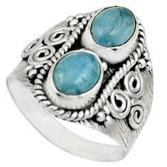 925 sterling silver 3.01cts natural blue aquamarine ring jewelry size 7.5 r17495