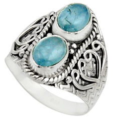 3.16cts natural blue aquamarine 925 sterling silver ring jewelry size 8 r17497